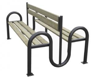 Banc Double W pin naturel